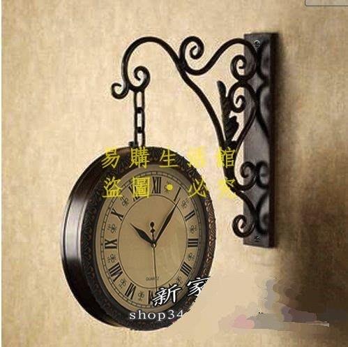 [王哥廠家直销]時尚歐式鐵藝掛鐘/雙面掛鐘客廳/靜音雙面鐘表太陽機芯田園風格韓式創意藝術時鐘指針鐘錶LeGou_1037_