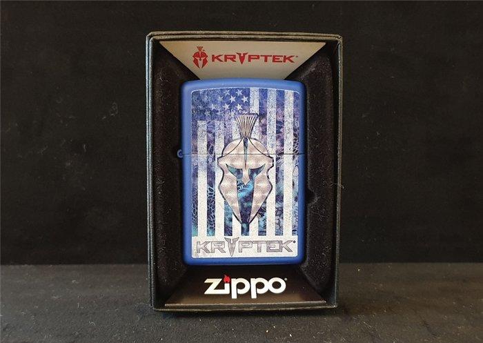 ONE*$1~*美系*ZIPPO*KRYPTEK*斯巴達頭盔標誌『克里普特克』寶藍彩繪*編號:49179