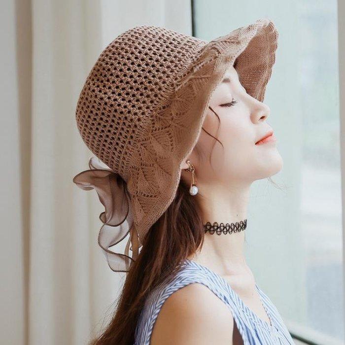 韓版綢緞大蝴蝶結棉麻遮陽帽子女夏沙灘大檐帽可折疊太陽帽