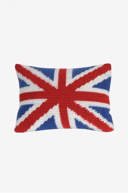 ☆ MARUMi 雜貨 ☆【DMC法國進口英國國旗抱枕(CANVAS/網格刺繡材料包)】