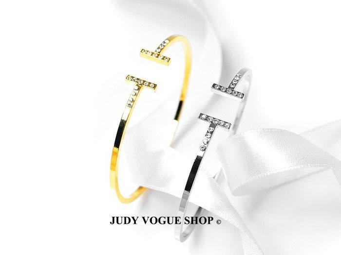 韓國 手環 施華洛元素線形手環 歐美時尚摩兒 璀燦開口手環 JUDY VOGUE SHOP 【JBT-0001】