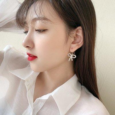 鹿爾飾物韓國個性時尚氣質短髮耳環歐美甜美蝴蝶結鋯石s925銀針耳鉤耳釘女