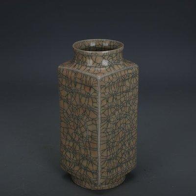 ㊣姥姥的寶藏㊣ 宋代哥窯金絲鐵線支釘四方琮式瓶  出土文物古瓷器古玩古董收藏品
