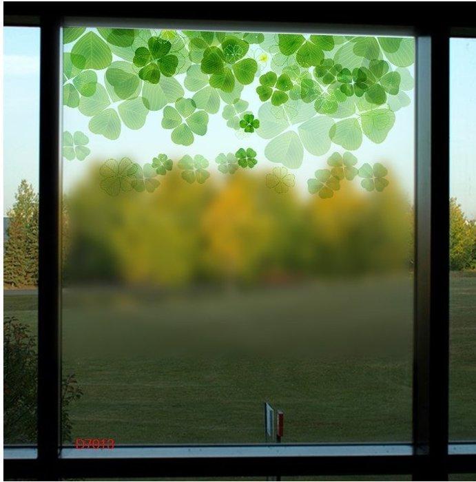 壁貼工場-玻璃貼 無痕貼 壁貼 牆貼 透明磨砂 幸運草  綠葉 窗貼 K7013