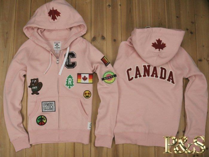 [P S]三號五樓 全新正品 Roots 加拿大 國慶款 貼布連帽外套 女款 粉色 (加拿大製)