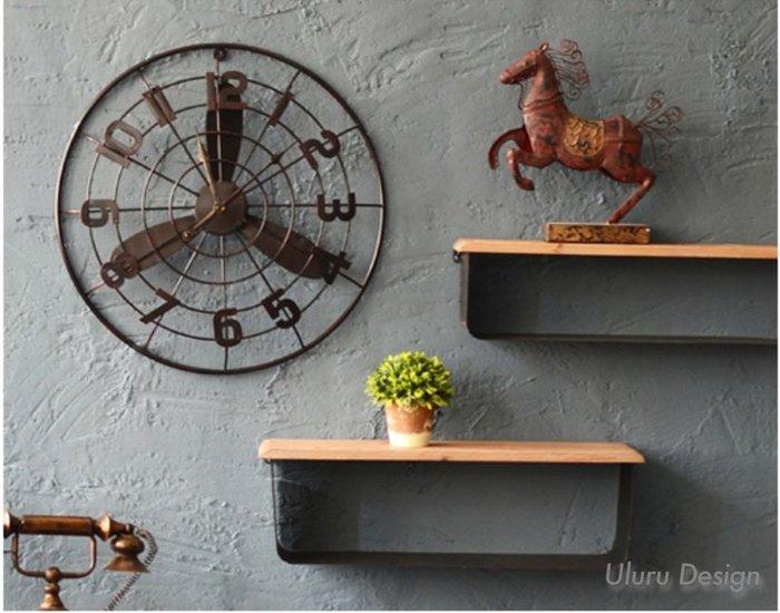 LOFT工業風 復古風扇造型 鐘 壁鐘 牆面裝飾掛鐘 早午餐 咖啡廳 餐廳 牆上裝飾品 壁飾 復古流行