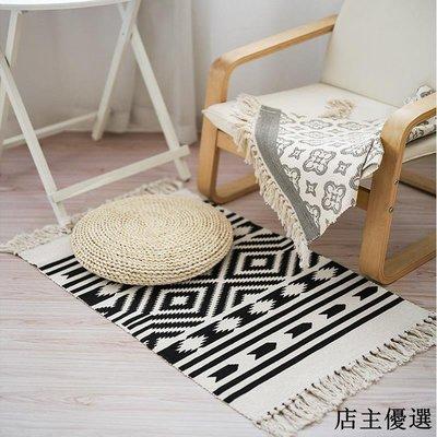 美式臥室編織印花地墊入戶進門腳墊床前地毯飄窗墊掛毯北歐地毯