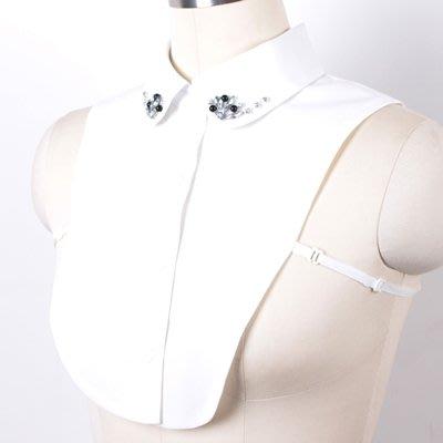 假領子 襯衫 領片-雪紡水鑽釘珠米白女裝配件73va34[獨家進口][米蘭精品]