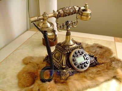 151華城小鋪*超取當日出貨*** 古董電話 仿古電話 復古電話 有線 來電顯示 造型電話 方型樹脂仿古銅T302