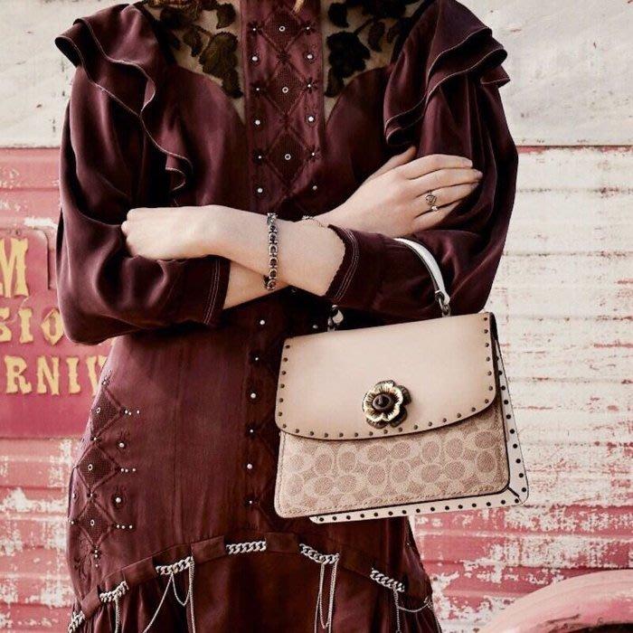 COACH 53349 新款女士PARKER系列手提包 柳釘花朵旋扣式小方包 單肩斜挎包