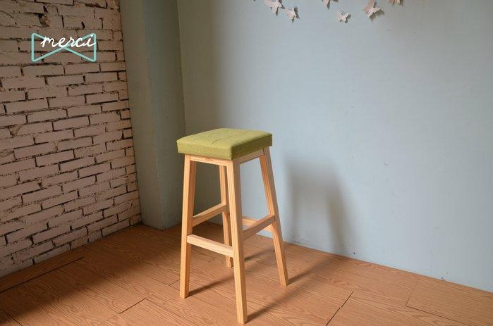 美希工坊JAN-PON吐司吧台椅/中島椅/吧台椅/ 亞麻綠/沙發坐感/原木椅架