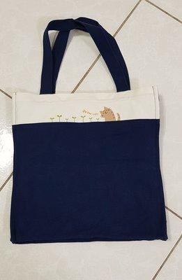 出清~【100%CARA卡拉貓正品-深藍色補習袋】可側背,二手商品,免運費。