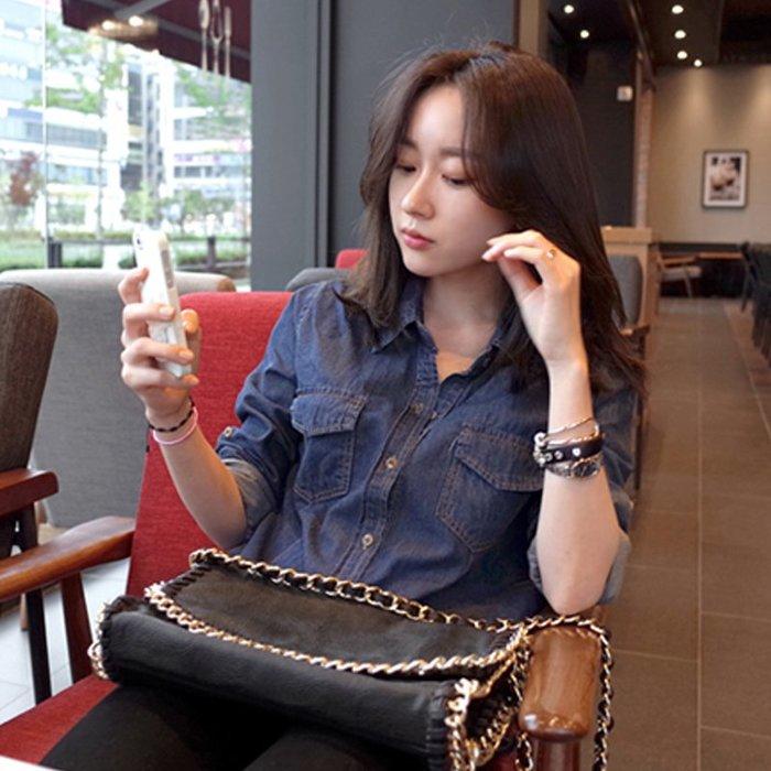【M's】春季韓版薄款牛仔長袖襯衫*S-XL。L80211