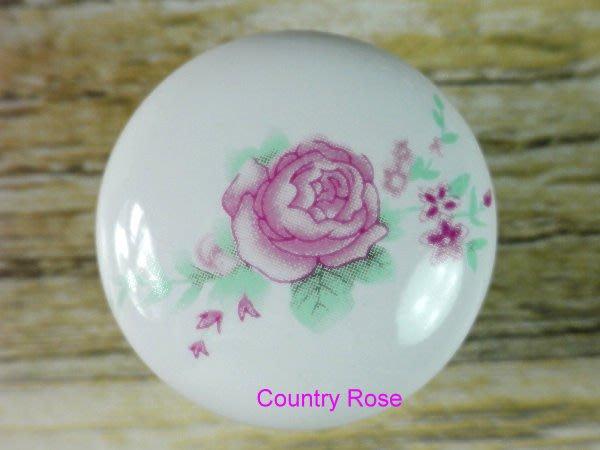 粉紅牡丹 陶瓷手把 取手 門把 把手/ 英式古典 / 鄉村 / 田園 / 書櫃 【鄉村玫瑰】