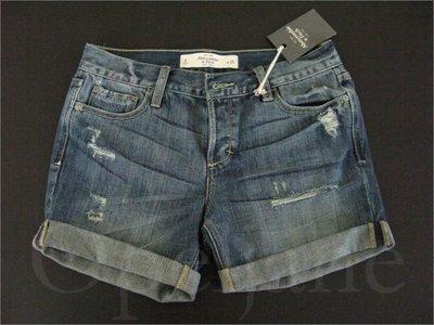 A&F AF 真品 Abercrombie & Fitch 麋鹿磨破反折牛仔短褲熱褲25腰0號愛Coach包包