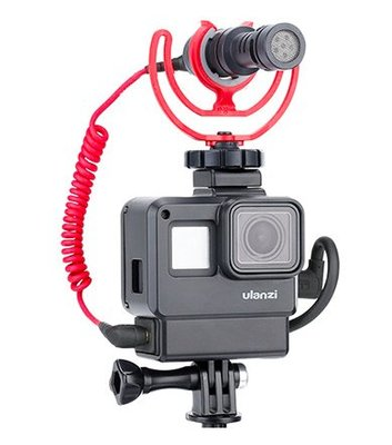 *大元 高雄*【Gopro配件】Gopro Hero 7 5 6 保護殼 狗籠 Vlog 可放音源線 有熱靴 可裝麥克風