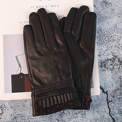 真皮手套羊皮手套-綿羊皮皺褶蕾絲鑲邊女手套73wf8[獨家進口][米蘭精品]