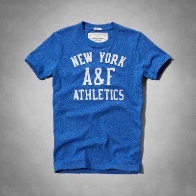 Maple麋鹿小舖 Abercrombie&Fitch * AF 藍色貼布電繡短T * ( 現貨XXL號 )
