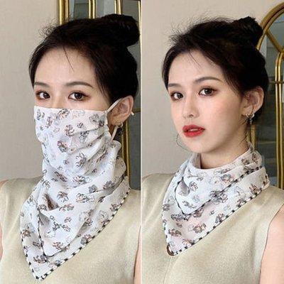 時尚夏季防曬面罩防紫外線防曬面紗頸部防護口罩雪紡透氣圍脖絲巾【滿200元發貨】