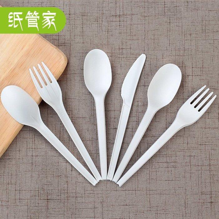 爆款--PLA可降解餐具一次性餐刀叉勺餐叉勺子叉子湯勺飯勺50只#一次性盒#透明#塑料盒#環保