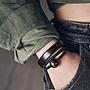 YouDo wh 原創小眾設計復古個性黑檀木質手鐲潮珠子手鏈手飾男女情侶款 兩件套