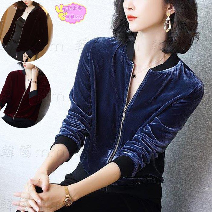 韓國MM=  春夏新款金絲絨外套女裝顯瘦百搭寬松韓版金絲絨外套打底衛衣 =針織外套/薄外套/牛仔外套/棒球外套/夾克