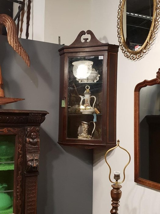 【卡卡頌 歐洲跳蚤市場/歐洲古董】英國老件_桃花心木 手工嵌木 天牛角 玻璃展示櫃 轉角櫃 壁掛櫃 ca0186✬