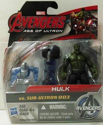 [出清特價] 漫威 復仇者聯盟2 奧創紀元 浩克 Hulk vs 奧創3號 2.5吋兩入人物遊戲組 孩之寶 原價329