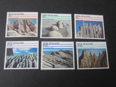 【雲品】紐西蘭New Zealand 1991 Sc 1038-43 Rock Formations (6) set MNH