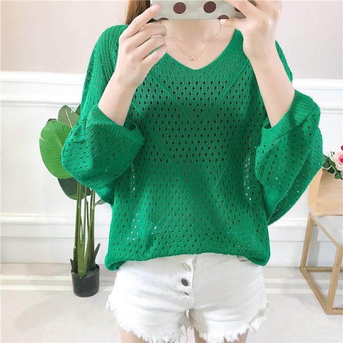 新款甜美鏤空蝙蝠衫女學生寬鬆百搭上衣韓版中袖防曬衣空調衫