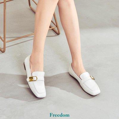 Freedom女鞋卓詩尼2019新款女單鞋平底鞋白色英倫春款早春方頭樂福鞋休閒百搭