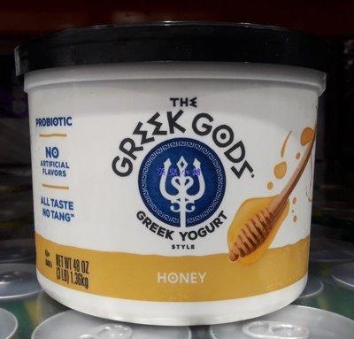 美兒小舖COSTCO好市多代購~GREEK GODS 希臘式優格-蜂蜜口味(1.36kg/罐)