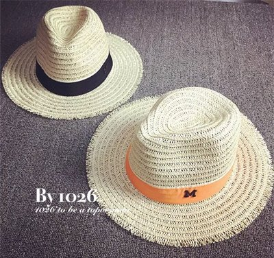 ++1026++韓國 度假風 M牌字母緞帶絲帶 不修邊藤麻線編織 巴拿馬遮陽寬帽簷 紳士草帽
