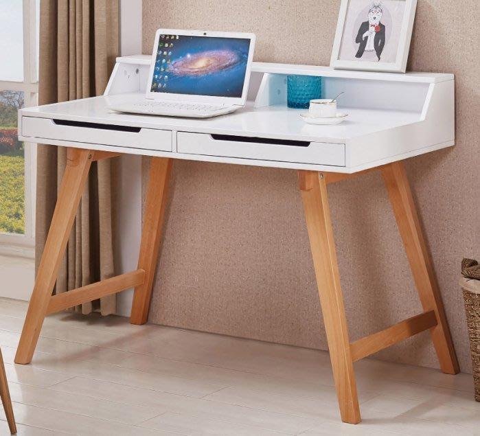 【DH】商品貨號N876-2商品名稱《倫海倫》3.6尺白色雙層二抽書桌(圖一)簡約雅緻經典。主要地區免運費