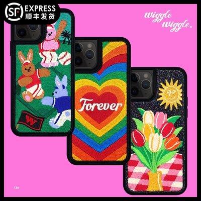 甜美3c配件~wiggle wiggle蘋果刺繡手機殼iPhone11/X/7/8/SE2全包防摔原創