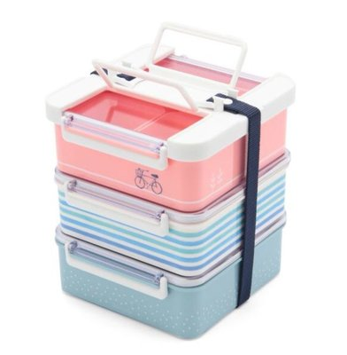 現貨~日本製Afternoon tea 微風單車三層野餐盒 便當盒 保鮮盒 角型 (小) 桃園市