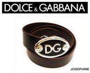 喬瑟芬【DOLCE&GABBANA】特價$8900~基本款 咖啡色 皮革 蛋形金屬釦 皮帶(85cm)