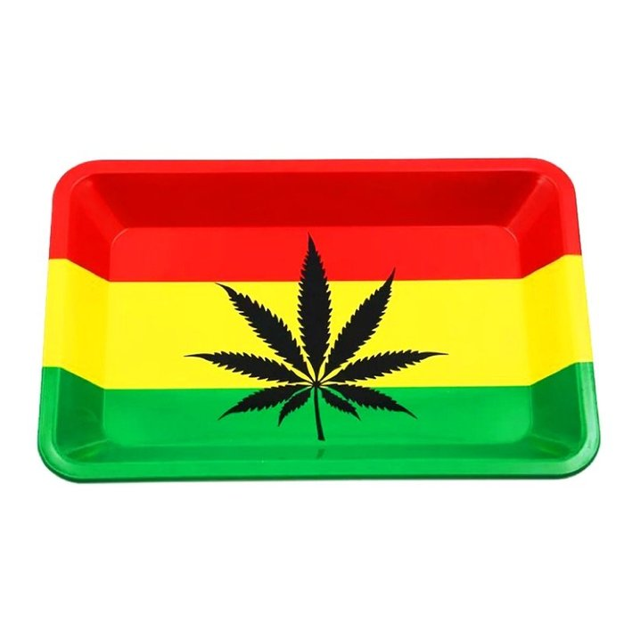 【MEGA】?免運 美國熱賣 180mm 牙買加國旗 麻葉圖案 金屬 捲煙 盤 手 捲菸 盤 Roller Tray