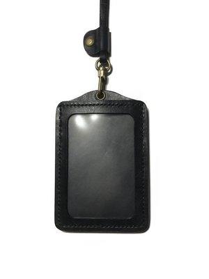 【IAN X EL】黑色真皮植鞣革直式識別證證件套 + 掛繩  提供免費刻字服務  純手工皮件
