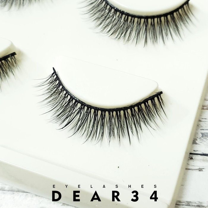 《Dear34》3D立體款3D-11黑梗眼中長小束束分明根根分明假睫毛自然推薦單款三對入3D