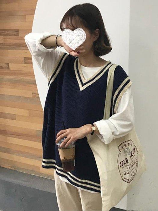 毛衣背心 針織馬甲上衣女寬鬆套頭韓版學生無袖毛衣背心   蜜拉貝爾