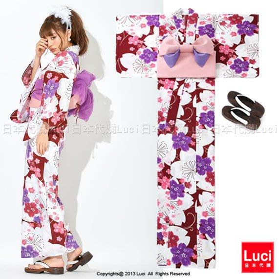 浴衣 俏麗飛舞櫻花 花朵浴衣和服三件組 吉木千沙都 日雜款 LUCI日本代購 [giu805np]