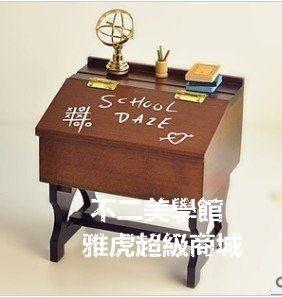 【格倫雅】^復古木質課桌音樂盒 天空之城八音盒 生日禮物開學紀念品 生日禮49696[