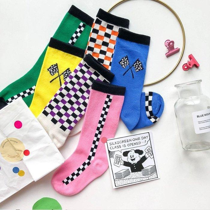 【小阿霏】兒童個性中筒襪潮襪 女童男童撞色棋盤格紋精梳棉襪子 秋冬款PA289