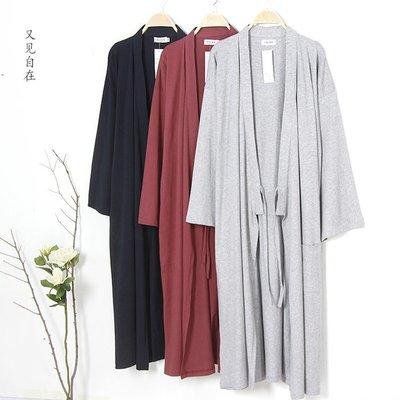 日式和服睡袍針織純棉春秋浴袍男士夏季薄加大長款一體式睡衣浴衣