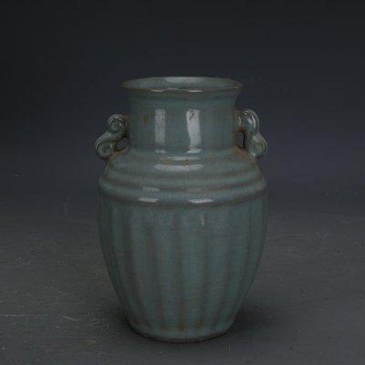 ㊣姥姥的寶藏㊣ 宋代官窯鐵胎青釉刮徑雙耳尊瓶  出土古瓷器古玩古董收藏擺件