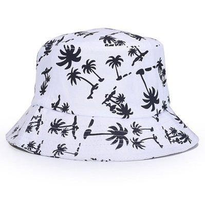 遮陽帽 椰子樹漁夫帽-戶外休閒時尚印花男女帽子4色73db1[正韓進口][米蘭精品]