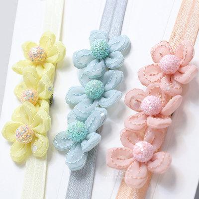 【媽媽倉庫】 氣質粉嫩立體三連花朵髮帶 頭飾 髮飾