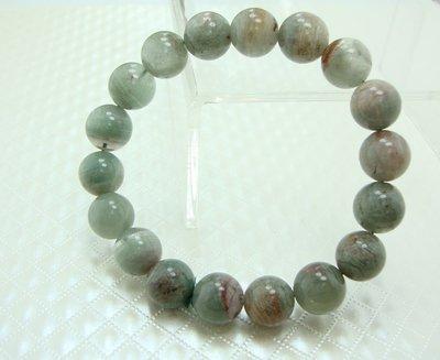 [天祥水晶]~天然綠幽靈手珠手鍊千層金字塔水晶11mm圓珠~34.1g~內包紅幽靈水晶
