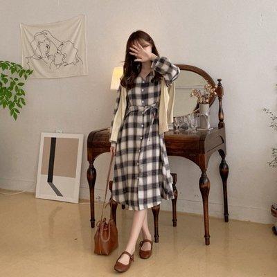 【ZEU'S】秋裝復古格紋洋裝『 11219609 』【現+預】KA